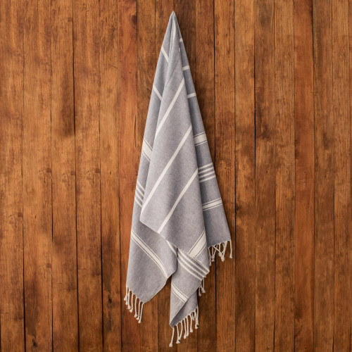 Striped Cotton Beach Towel in Cadet Blue from Guatemala 'Fresh Relaxation in Cadet Blue'