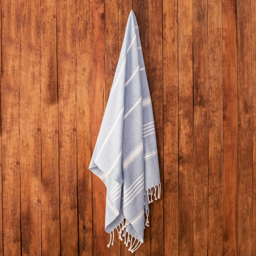 Striped Cotton Beach Towel in Sky Blue from Guatemala 'Fresh Relaxation in Sky Blue'