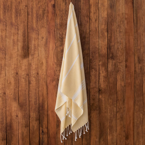 Striped Cotton Beach Towel in Buttercup from Guatemala 'Sweet Relaxation in Buttercup'