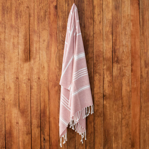 Handwoven Cotton Beach Towel in Carnation from Guatemala 'Fresh Relaxation in Carnation'