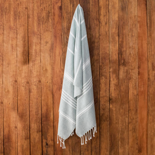 Striped Cotton Beach Towel in Celadon from Guatemala 'Fresh Relaxation in Celadon'