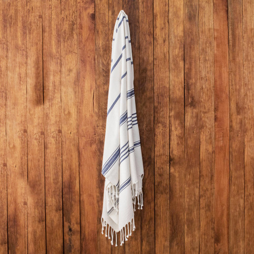 Snow White Cotton Beach Towel with Indigo Stripes 'Sweet Relaxation in Snow White'