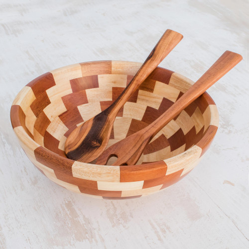 Palo Blanco and Caoba Wood Salad Bowl and Spoons 'Home Freshness'