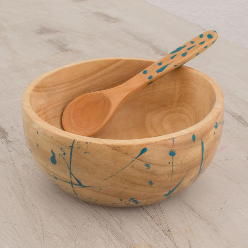 Abstract Wood Condiment Bowl and Spoon in Blue 'Abstract Kitchen in Blue'