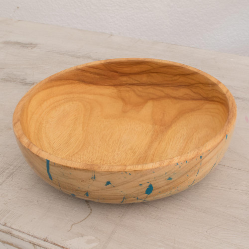 Modern Wood Serving Bowl with Blue Abstract Designs 'Abstract Kitchen in Blue'