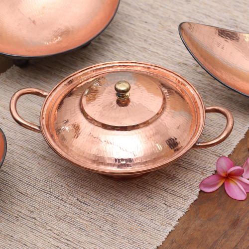 Copper Serving Bowl with a Lid from Java 'Warm Glow'