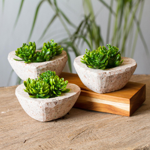 HeartShaped Reclaimed Stone Flower Pots Set of 3 'Lovely Plants'