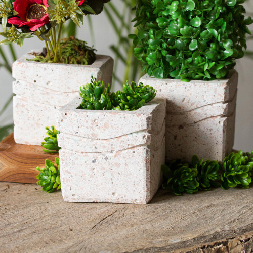 Wave Pattern Reclaimed Stone Flower Pots Set of 3 'Chic Waves'
