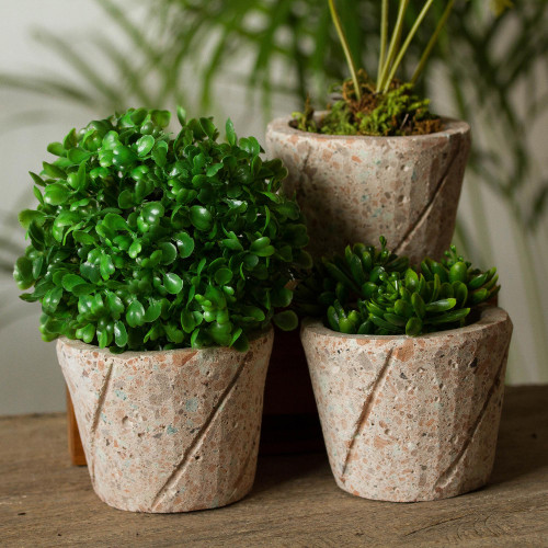 Spiral Pattern Reclaimed Stone Flower Pots Set of 3 'Plant Stripes'