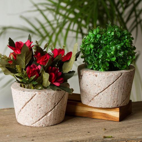 Spiral Pattern Reclaimed Stone Flower Pots Pair 'Verdant Spirals'