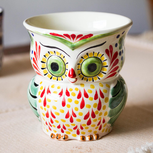 Colorful Ceramic Owl Flower Pot from Mexico 'Owl Planter'