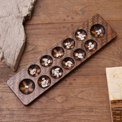 Batik Wood and Stone Dakon Board Game from Java 'Dakon'