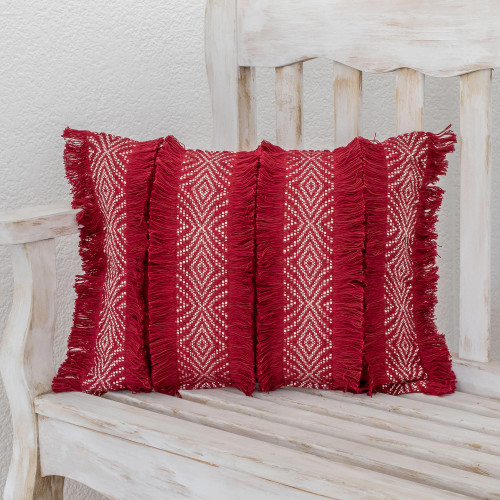 Chili and Eggshell Textured Cotton Cushion Cover 'Diamond Texture in Chili'