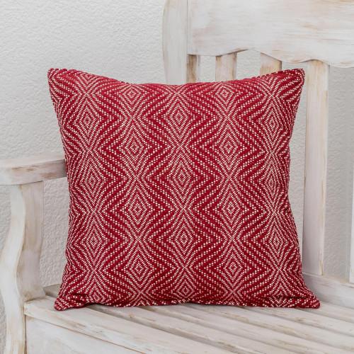 Diamond Pattern Cotton Cushion Cover in Chili from Guatemala 'Geometric Elegance in Chili'