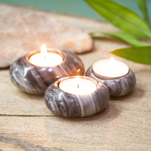 Grey and Black Marble Tealight Holders Set of 3 'Grey Flow'