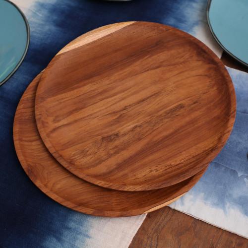 Handmade Natural Teakwood Plates from Bali 14 Ine, Pair 'Natural Appetite'