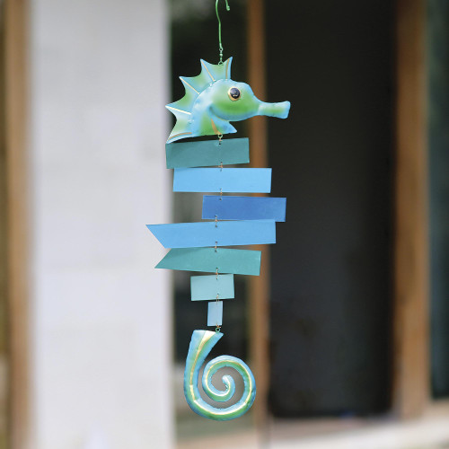 Green and Blue Glass Seahorse Suncatcher 'Seahorse'
