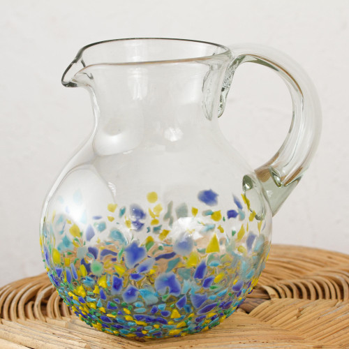 Handblown Recycled Glass Pitcher from Mexico 'Tropical Confetti'