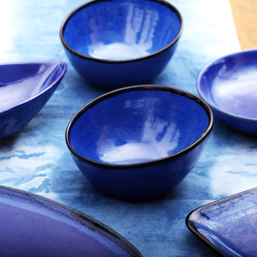 Asymmetric Ceramic Bowls in Blue from Bali Pair 'Asymmetric Blue'