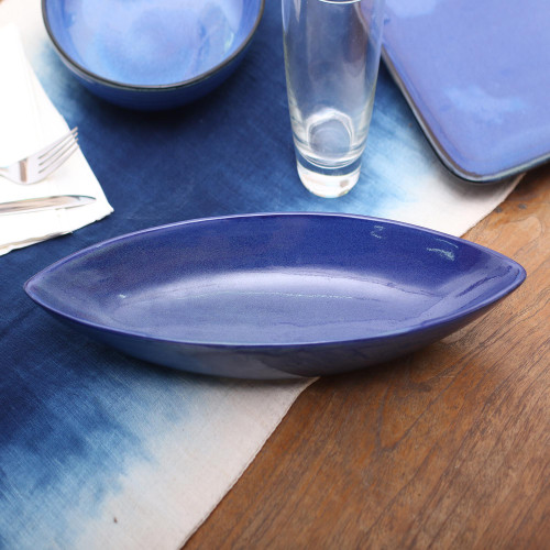 Long Blue Ceramic Serving Bowl Crafted in Bali 'Blue Canoe'