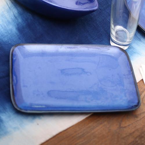 Blue Rectangular Ceramic Platter from Bali 'Blue Field'