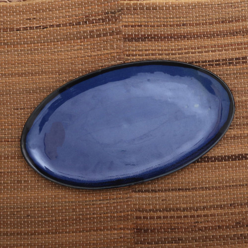 Blue Oval Ceramic Platter Crafted in Bali 'Wide Oval'