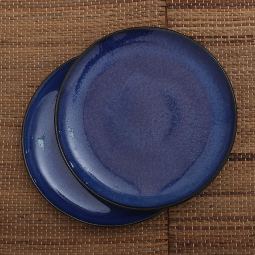 Blue Ceramic Salad Plates Crafted in Bali Pair 'Blue Appetite'