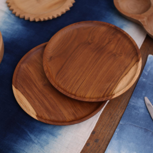 Handcrafted Teakwood Luncheon Plates Pair 'Natural Appetite'