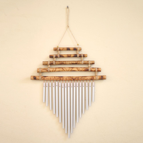 Artisan Crafted Bamboo and Aluminum Wind Chime 'Five Steps'