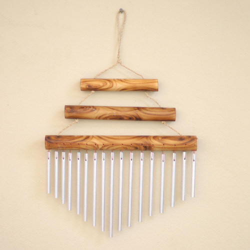 Harmonious Bamboo and Aluminum Wind Chime from Bali 'Three Steps'