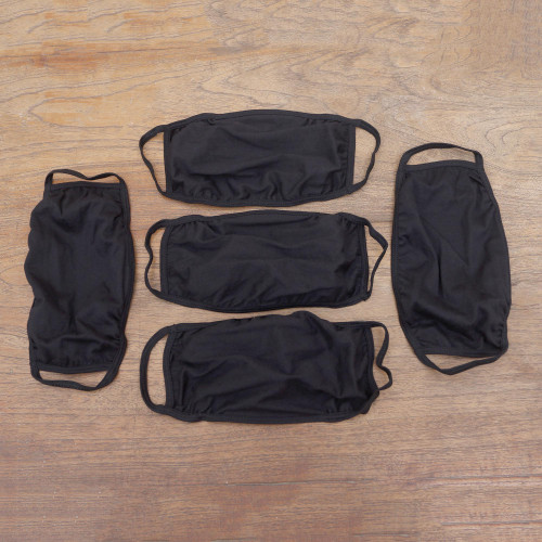 Set of 5 Artisan Crafted Elasticized Black Cotton Face Masks 'Elastic Black'