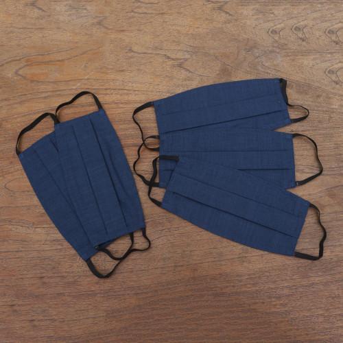 Set of 5 Double Layer Blue Cotton Elastic Loop Face Masks 'Elastic Blue'