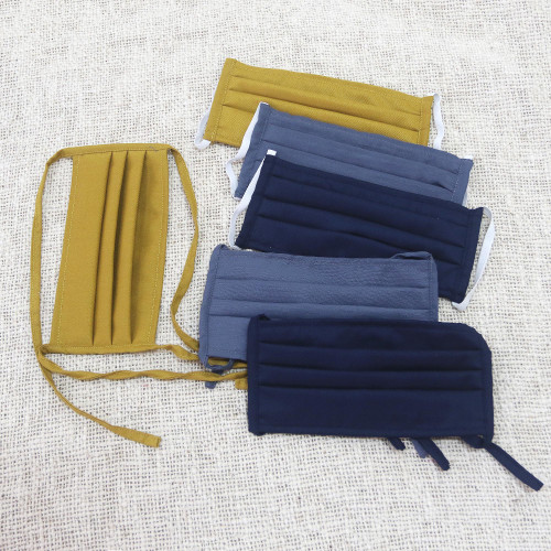 6 Handcrafted Double Cotton Face Masks in 3 Solid Colors 'Color Harmony'