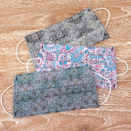 Set of 3 Single Layer Cotton Print Elastic Loop Face Masks 'Batik Inspiration'