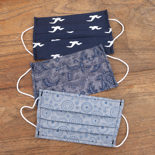 3 Single Layer Blue Cotton Print Elastic Loop Face Masks 'Island Vibe'