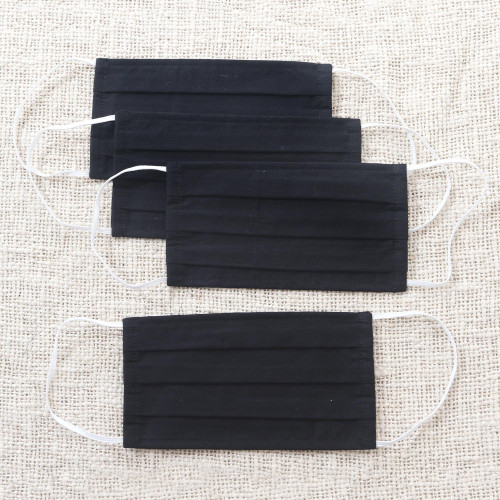 4 Artisan Crafted Black Cotton and Polypropylene Face Masks 'Professional Black'