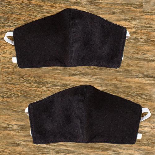 2 Handwoven 2-Layer Black Cotton Elastic Headband Face Masks 'Zapotec Midnight'