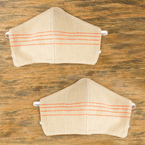 2 Handwoven Beige and Orange Cotton Headband Face Masks 'Tropical Tangerine'