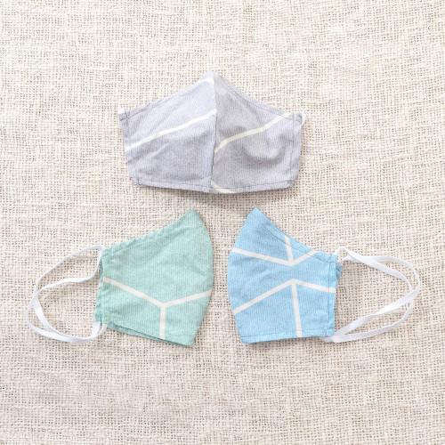 3 Pastel Print Contoured Double Cotton Face Masks 'Tropical Pastels'