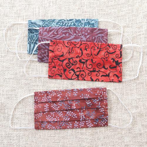 4 Artisanal Abstract Cotton Print and Polypropylene Face Mas 'Bright Days'