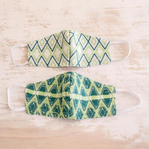 2 Handwoven 3-Layer Masks in Green Cotton Brocades 'Green Maya Brocade'