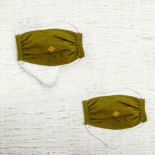 2 Handwoven 2-Layer Olive Green Cotton Elastic Headband Face 'Mayan Olive'