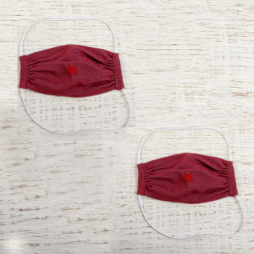 2 Handwoven 2-Layer Embroidered Burgundy Cotton Face Masks 'Burgundy Berry'