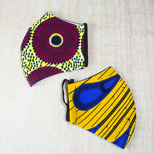 Pair of Brightly Colored African Print Cotton Face Masks 'Fountain of Color'