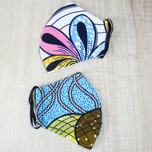 2 Double Layer African Pastel Cotton Print Face Masks 'Cheerful Pastels'