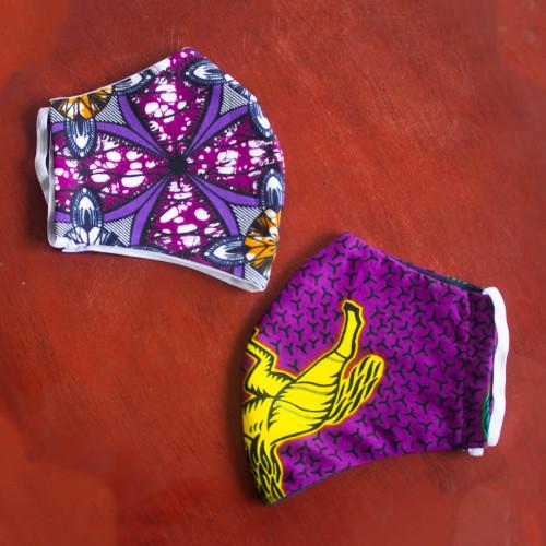 2-Layer Africa Cotton Print Face Masks (Pair)