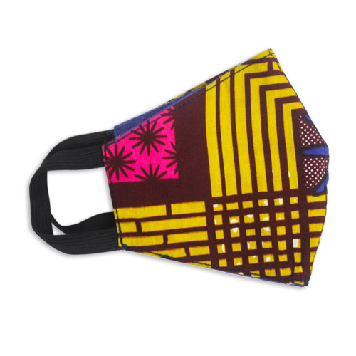 Ghanaian Bright Cotton Print 2-Layer Contoured Face Mask 'Optimistic Colors'