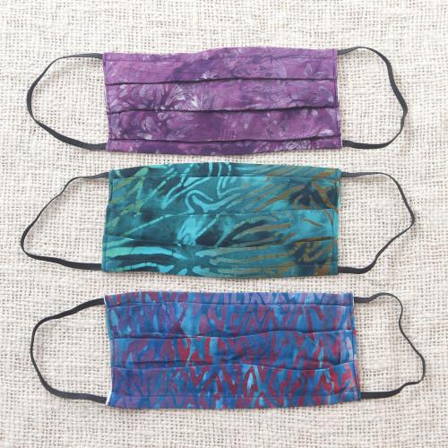Set of 3 Double Layer Rayon Batik Elastic Loop Face Masks 'Island Allure'