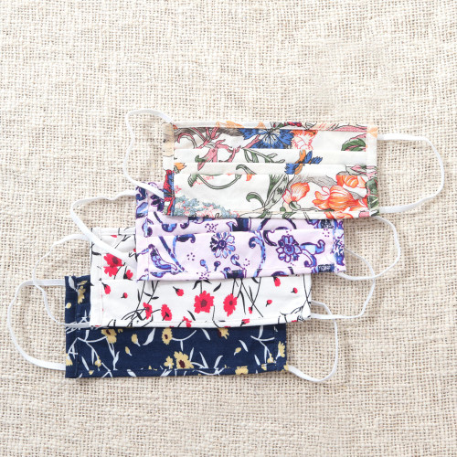 Four 2-Layer Cotton Wildflower Print Elastic Loop Face Masks 'Balinese Wildflowers'