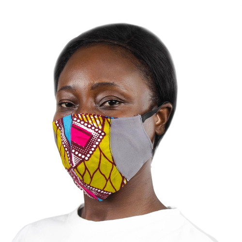 Grey Ghanaian Cotton Patchwork 2-Layer Ear Loop Face Mask 'Bold Colors'